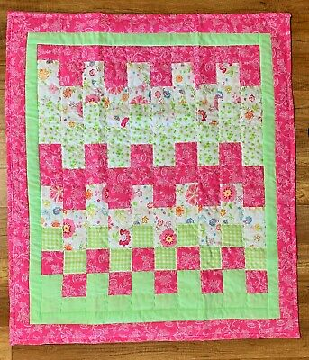 Baby Girls Quilt Handmade Crib Blanket Pink & Green Floral New