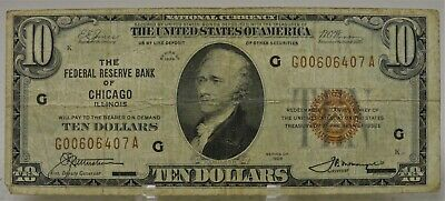 series 1929 $10 ten dollar Federal Reserve Bank of Chicago, Illinois, G00606407A