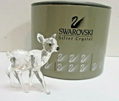 "Swarovski Crystral "" Fawn"" Figurine # 7608 NR 000 002 - NEW - W/ Box COA"