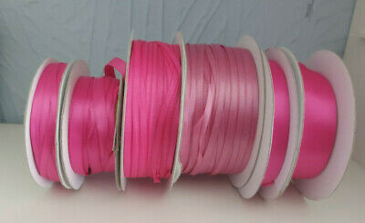 Double Sided Satin Pink Ribbon Reels Lot Various Lengths & Widths Craft