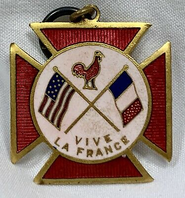 Antique WWI Pin The American Fund for French Wounded Vintage Medal Vive France