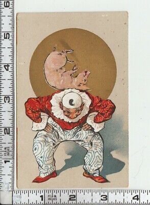 untitled - CLOWN with PIG on his back in front of Gold Circle - Color Postcard