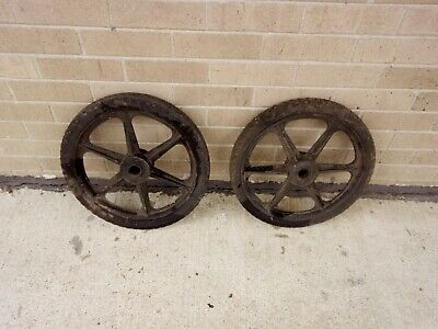 "16"" Inch Black Pair Solid Cart Wagon Trailer Mower Wheel Mags Tire"