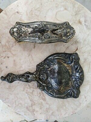 Vanity Set Silver Plated Hair Brush and Hand Mirror Vintage 2 Piece Set -Antique