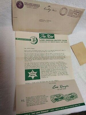 Rare 1942 Lone Ranger Safety Club Merita Bread News Letter For Lucky Coin