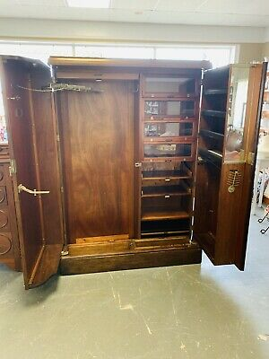 Stunning Antique Wardrobe Armoire -Very Unique Labeled Compaction Made In London