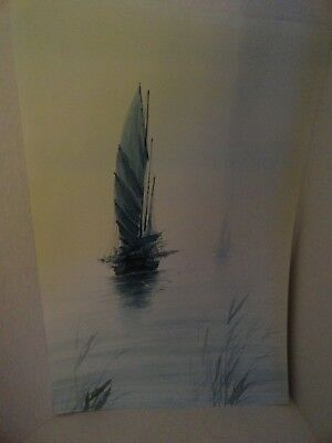 Vintage - Signed Abstract Art Print - Ship On Water -  25 X 16 1/2  - Unframed