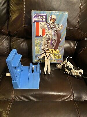 Evel Knievel 1972 Stunt Cycle & Action Figure with Blue Launcher & Box~WORKS
