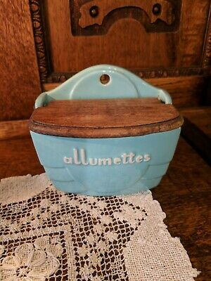 Vintage France 1920's Allumettes Blue Pottery Match Box Holder with Wooden Lid