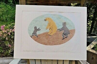 Inuit Art Stone-Cut Lithograph, The Strongest of Their Allies, PP, Jacoposee, 76