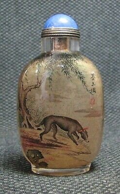 Chinese Delicate Inside-drawing Hound Glass Snuff Bottle