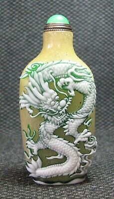 Chinese Exquisite Carve Dragon Glass Snuff Bottle