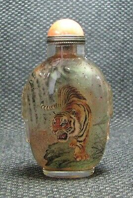 Chinese Exquisite Inside-drawing Tigers Glass Snuff Bottle