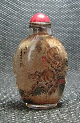 Chinese Exquisite Inside-drawing Squirrels Glass Snuff Bottle