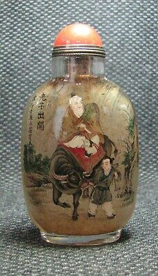 Chinese Exquisite Inside-drawing Lao Zi Chu Guan Glass Snuff Bottle