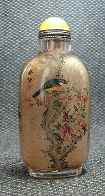 Chinese Exquisite Inside-drawing Birds And Peach blossom Glass Snuff Bottle