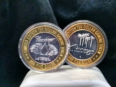 """""""LOOK"""" Lot Of 2  .999 Fine Silver 10$ Gaming Tokens Limited Edition Las Vegas  k"""