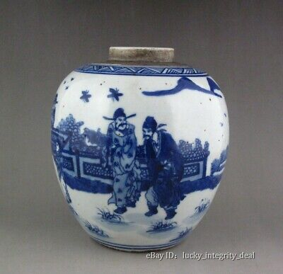 Old Chinese Blue and White Character Story Porcelain Jar Vase tank