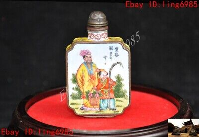 Marked Chinese bronze Cloisonne Old man Boy tongzi flower pattern Snuff bottle