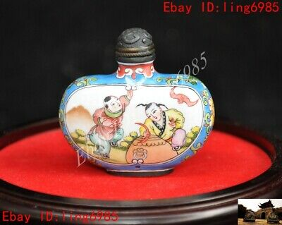 Marked Chinese bronze Cloisonne Boy tongzi Dragon flower pattern Snuff bottle