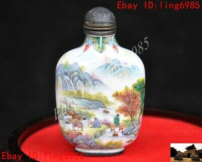 Marked Chinese bronze Cloisonne landscap pine people house pattern Snuff bottle