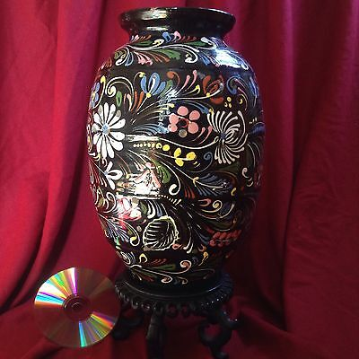 Antique XLarge Matyo Handmade Faience Majolica Folk Pottery Black Vase Porcelain