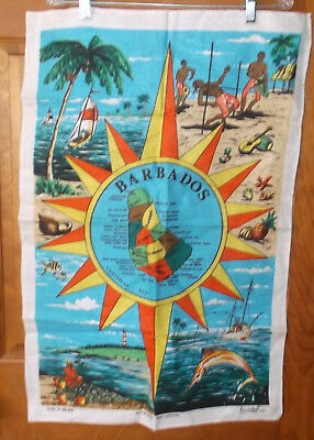 Vintage BARBADOS Irish Linen Kitchen Towel Map & Images Fast Colours Lamont