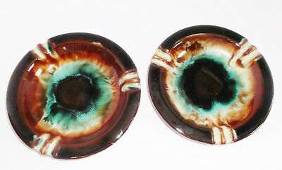 "2 Vintage 1970s PSYCHEDELIC ASHTRAYS CCC Canada Pottery 7.25"" Drip Glaze"