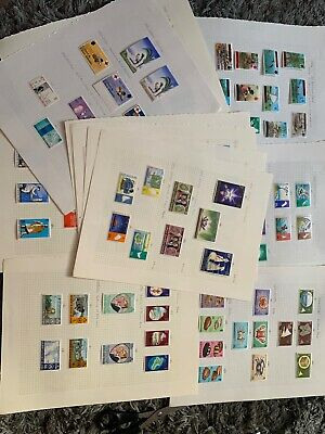 Mint commonwealth stamps on 12 old pages , QE2 1960s 0n,Very High Quality inc $2