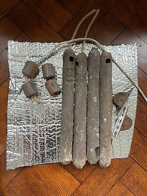 8 (4 Large, 4 Small) Antique Victorian Cast Iron Sash Window Weights reclaimed