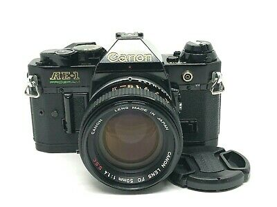Canon AE-1 Program  35mm SLR Film Camera w/ FD 50mm f/1.8  Tested From Japan