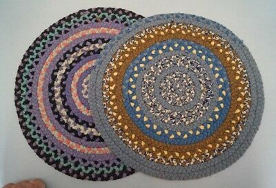 ^Two Antique Original Primitive Country Braided Wool Table Top Mats Americana