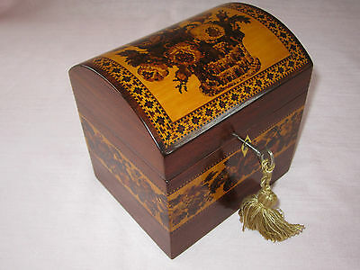 Antique Tunbridge Ware Domed Top Single Tea Caddy c.1870