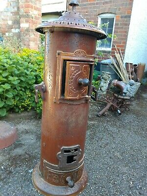 Antique French Cast Iron Enamelled Wood Burner Stove
