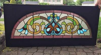 antique Victorian STAINED Leaded GLASS  TRANSOM  ARCHED Window w/ JEWELS
