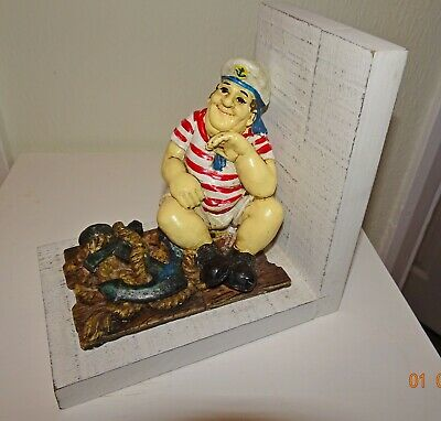 Book End With Sailor And Anchor With Great Detailing Hand Painted