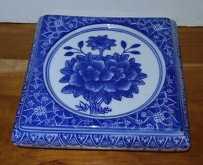"""Lovely Chinese Blue & White Porcelain Planter/Pot/Saucer Stand Flower Scenery 8"""""""