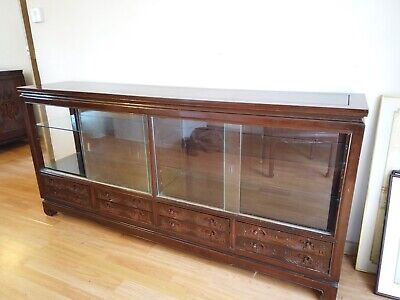 Chinese Glass Cabinet furniture chinoise campherwood - Hand Carved