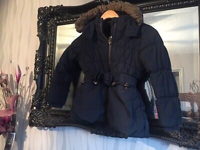 Girls Bhs Navy Blue Hooded Coat Age 6 Years