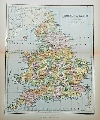 Antique Colour Map of England and Wales by John Bartholomew & Co., 1889