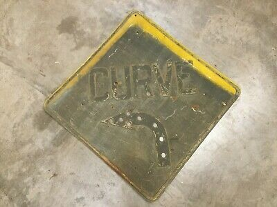 Vintage Curve Road Highway Sign Very Old And Rustic Cat Eye Reflectors Missing