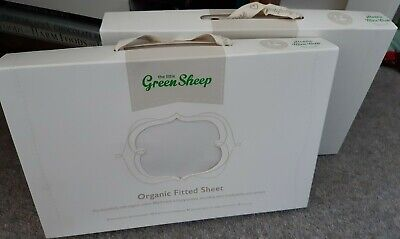 NEW - Two Fitted Sheets For Stokke Mini Crib- Organic Cotton Little Green Sheep
