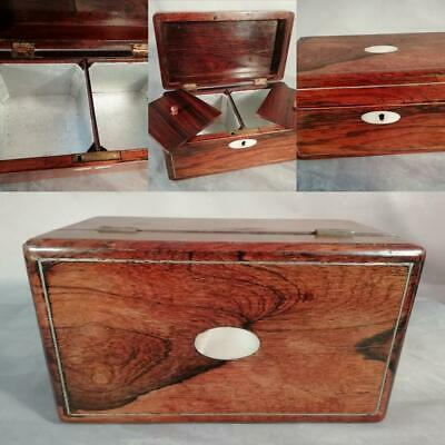 Antique English Victorian Vintage Rosewood Mother of Pearl Tea Caddy Box Cabinet