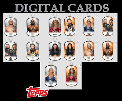 2020 DOG TAGS DROP 1 SILVER+BRONZE SET OF 14 CARDS  TOPPS WWE Slam Digital Card