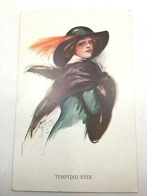 "VINTAGE ARTIST SIGNED POSTCARD BY SARBER ""TEMPTING EYES"" Posted 1916"