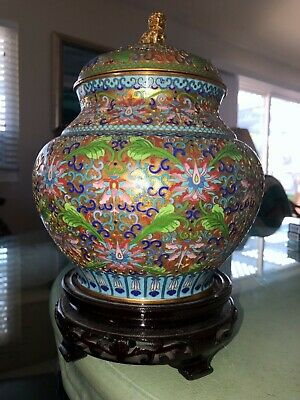 Outstanding Cloissone Vase/Ginger Jar from China with Stand. STUNNING!!!