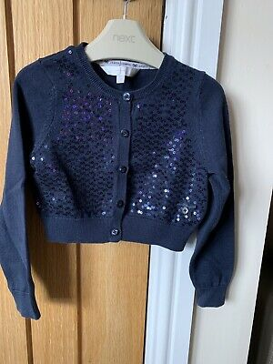 Girls Jasper Conran Age 4-5 Navy Blue Siquin Cardigan Party Sparkles Debenhams