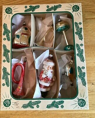 Vintage Glass Shiny Brite West Germany Christmas Ornaments In Box Figural Santa