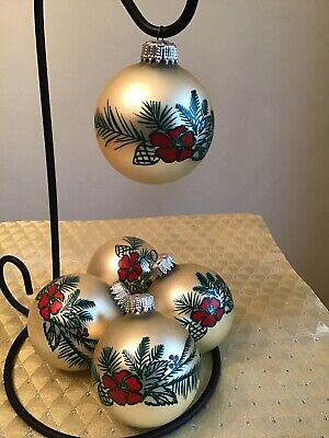 VINTAGE Stencil Green Pine Branches painted Red Flower ball CHRISTMAS ORNAMENTs