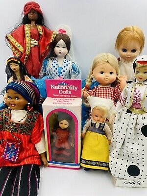 Vintage Mix lot of 9 International & Souvenir Dolls Marin Chiclana